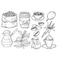 collection vintage coffee party icons hand vector image vector image