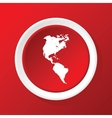 Continents icon on red vector image vector image