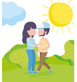 couple together grass nature landscape healthy vector image