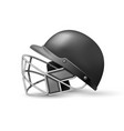 cricket helmet with protective grill on white vector image vector image