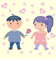 cute cartoon boy and girl in love vector image