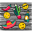 Cute cartoon set of patch icons or stickers vector image