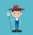 cute flat farmer cartoon characters wear blue vector image vector image