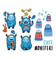 cute monsters friendly stickers set vector image vector image