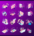 freelance coding icon set vector image vector image