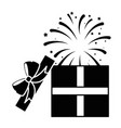 gift box present with fireworks explosion vector image
