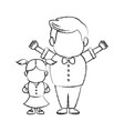 grandfather and girl holding hands together fun vector image vector image