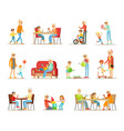 grandparent spending time with grandchildren set vector image vector image