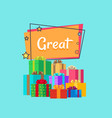 great sale inscription above gifts presents boxes vector image