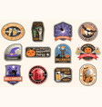 halloween patches halloween retro badge pin vector image