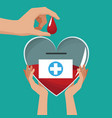 hands holding glass heart campaign donate blood vector image vector image
