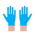 hands putting on medical latex gloves icon symbol vector image vector image