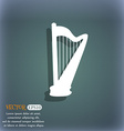 harp icon On the blue-green abstract background vector image
