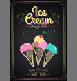 ice cream menu on chalkboard vector image