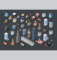 isometric projection 3d buildings vector image vector image