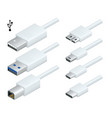 isometric white usb types port plug in cables set vector image