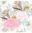 lilies and chrysanthemum flowers pattern vector image vector image