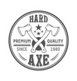 lumberjack axes round logo template vector image vector image