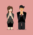 man and woman pray to god vector image