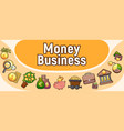 money business concept banner cartoon style vector image vector image