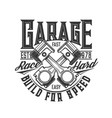 motorcycle car custom garage moto races engine vector image vector image
