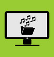 music and media folder thumbnail in lc monitor pc vector image vector image