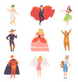 people in bright festival costumes set vampire vector image
