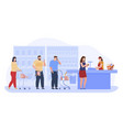 people shopping at supermarket paying standing vector image