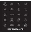 perfomance editable line icons set on black vector image