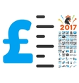 Pound Value Icon With 2017 Year Bonus Symbols vector image vector image