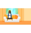 Pregnant woman sitting on sofa vector image vector image