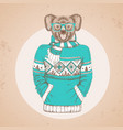 retro hipster animal koala dressed in pullover vector image vector image
