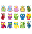 Set of fifteen colourful owls vector image vector image