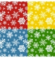 Set of four colour modern winter seamless patterns vector image vector image