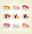 set various fresh and delicious nigiri sushi vector image