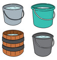 set water buckets vector image vector image