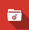 settings folder icon isolated with long shadow vector image vector image