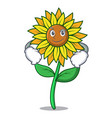 smirking sunflower character cartoon style vector image vector image