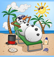 snowman cartoon character on a tropical vacation vector image