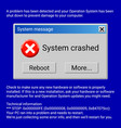 system crashed fatal error window on blue screen vector image
