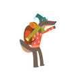wolf travelling with backpack cute cartoon animal vector image vector image