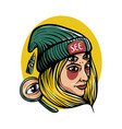 woman wearing green beanie hat with mirror vector image