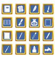 writing icons set blue vector image vector image