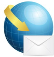 Globe with envelope and arrow vector image