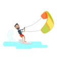 Athlete Takes Part at Kite Surfing Spain Festival vector image