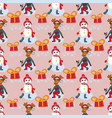 christmas characters new year pattern with vector image