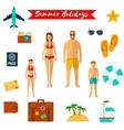 Summer holiday flat icons vector image