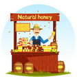 agronom selling honey at market stall or showcase vector image