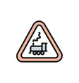 attention train sign railway traffic flat color vector image