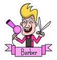 barber vintage label badge or emblem on white vector image vector image